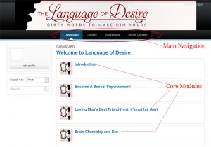Inside the Language of Desire member's area dashboard.