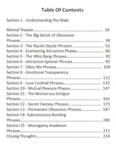 Obsession Phrases Table Of Contents (Click to enlarge)