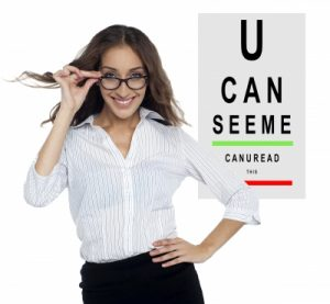 a woman in glasses with an eye chart