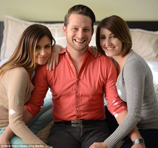 photo of Adam Lyons with his two live-in girlfriends