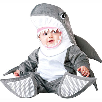Infant Dressed In Silly Shark Costume
