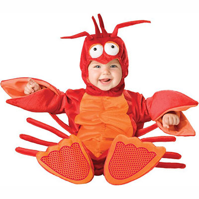 Baby Dressed In Lil Lobster Costume