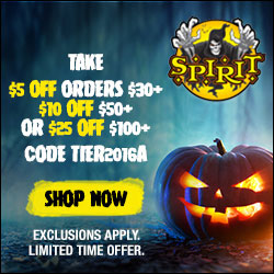 Take $5 Off orders $30+, $10 Off $50+ or $25 Off $100+ at Spirit Halloween! Code TIER2016A. Exclusions apply. Limited time offer. Shop costumes, décor & more!