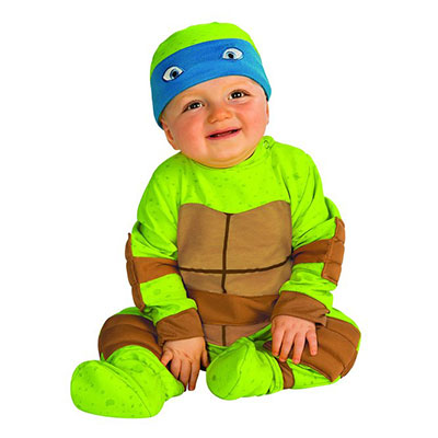 Baby Dressed In Teenage Mutant Ninja Turtle Costume