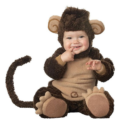 Toddler Dressed In Lil Monkey Costume