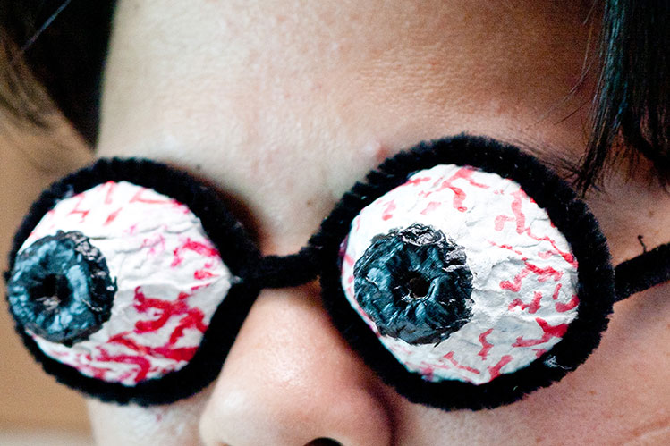Wearing The DIY Halloween Pop-Out Eyeball Glasses
