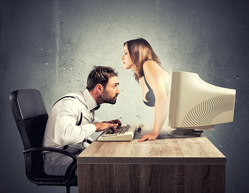 Woman Coming Out Of A Computer