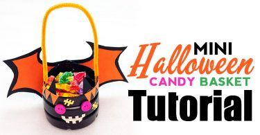 A DIY step-by-step tutorial for making your own mini Halloween candy basket.