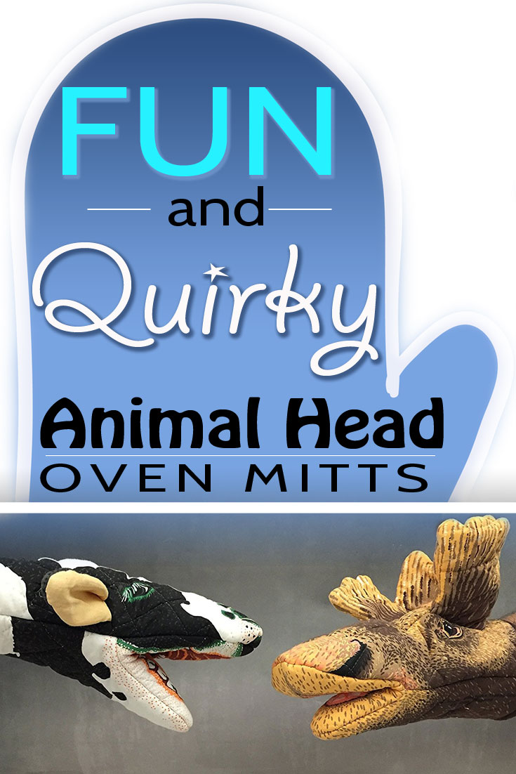 Fun Quirky And Cool Animal Head Oven Gloves - Novelty Animal Oven Mitts