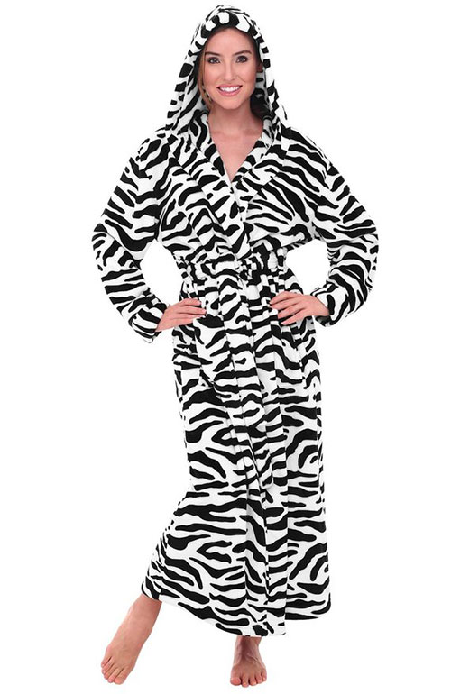 Long Hooded Zebra Print Bathrobe