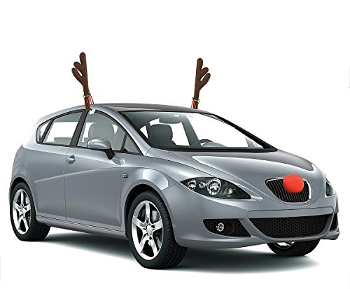 reindeer antler car decoration kits with ribbon jingle bell accessories