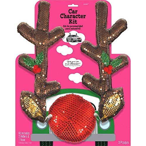 festive christmas reindeer car decoration kit found here this first one is one of my favorites the ears and colorful lightbulbsornaments dangling from - Christmas Decorations For Your Car