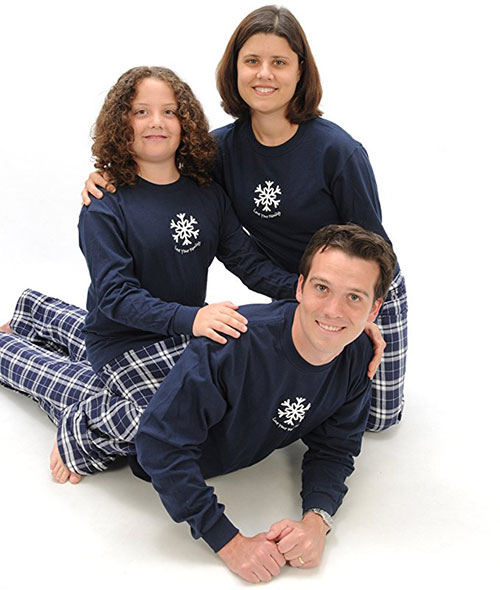 Blue Holiday Winter Snowflake Family PJs