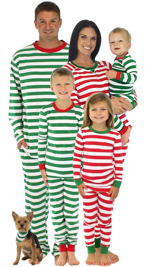 Red And White And Green And White Striped Christmas PJs For The Whole Family