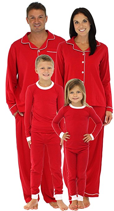 Matching Holiday Red Stretch Pajamas Set For Family