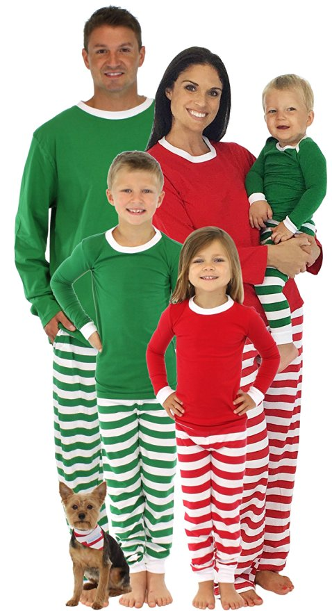 Family Matching Holiday Striped Knit Pajamas
