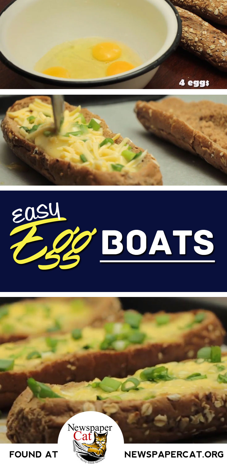 An Easy Vegetarian Egg Boats Recipe - Lots Of Yumminess! - Alternatively, Meat It Up With Bacon Bits Or Sausage Crumbles