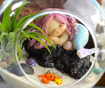 Mother's Day Terrarium Featuring Sleeping Mermaid For Expectant Mothers