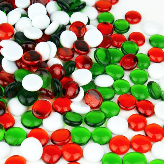 Red, green, and white aquarium gems.