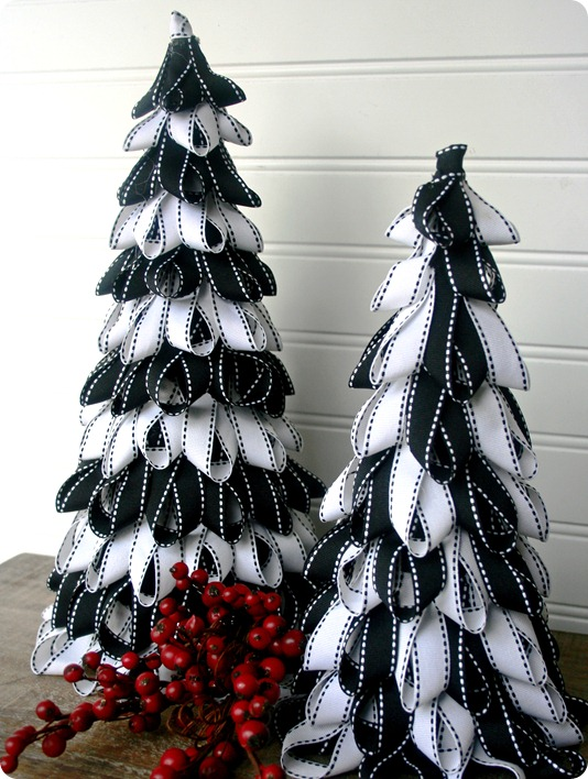 DIY black and white ribbon Christmas tree craft.