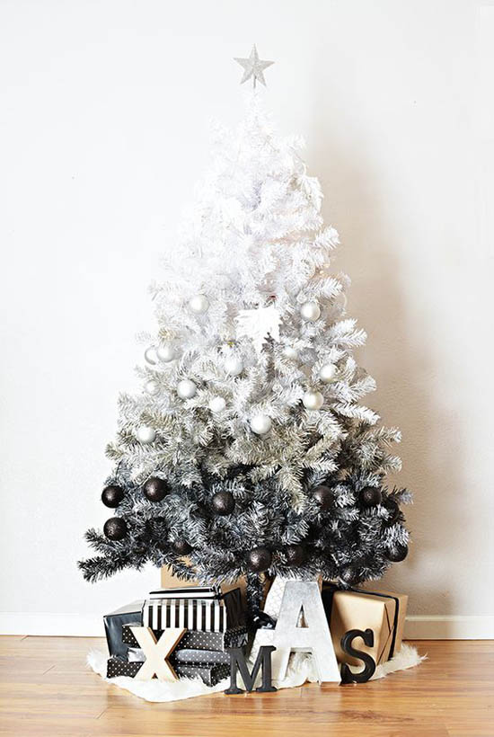 DIY black ombre Christmas tree.