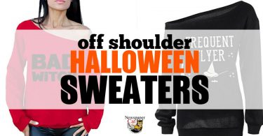 These women's off the shoulder Halloween sweaters bring out the cute and sexy without the costume.